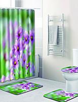 Недорогие -1 комплект Традиционный Коврики для ванны 100 г / м2 полиэфирный стреч-трикотаж Цветочный принт Прямоугольная Ванная комната Cool