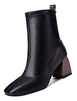 Недорогие -Жен. Fashion Boots Полиуретан Осень На каждый день Ботинки На толстом каблуке Сапоги до середины икры Черный