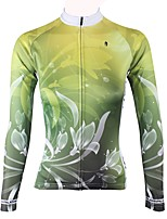 Недорогие -ILPALADINO Жен. Длинный рукав Велокофты - Зеленый Мода Велоспорт Джерси Верхняя часть, Флисовая подкладка Сохраняет тепло Ультрафиолетовая устойчивость, Зима, Эластан