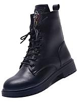 Недорогие -Жен. Армейские ботинки Полиуретан Осень На каждый день Ботинки На толстом каблуке Круглый носок Сапоги до середины икры Черный / Коричневый