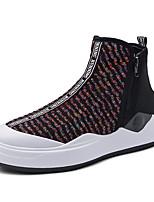 Недорогие -Муж. Комфортная обувь Трикотаж Весна & осень На каждый день Кеды Серый / Красный