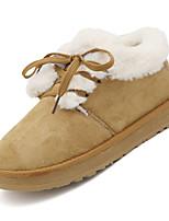 Недорогие -Жен. Зимние сапоги Полиуретан Осень На каждый день Ботинки На плоской подошве Круглый носок Ботинки Черный / Бежевый / Коричневый