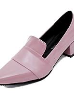 Недорогие -Жен. Балетки Лакированная кожа Осень На каждый день Обувь на каблуках На толстом каблуке Черный / Розовый / Винный / Повседневные