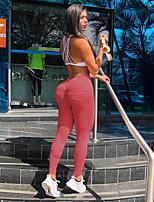 baratos -Mulheres Bolsos / Ruched Butt Lifting Calças de Yoga - Vermelho, Verde, Rosa claro Esportes Côr Sólida Cintura Alta Meia-calça / Leggings Corrida, Fitness, Ginásio Roupas Esportivas Butt Lift