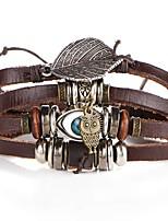 Недорогие -Муж. Плетение Кожаные браслеты - Сова, Глаза Художественный, Уникальный дизайн Браслеты Коричневый Назначение Для вечеринок Для улицы
