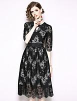 Недорогие -Жен. Изысканный / Элегантный стиль А-силуэт / Маленькое черное Платье - Однотонный, Кружева Средней длины