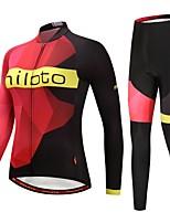 Недорогие -Miloto Велокофты и лосины / Велокуртка и брюки - Черный / красный Велоспорт Сохраняет тепло