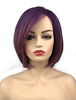 abordables -Perruque Synthétique Femme Droit Violet Court Bob Cheveux Synthétiques 10 pouce Synthétique Violet Perruque Court Sans bonnet Violet