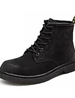Недорогие -Жен. Комфортная обувь Замша Зима Ботинки На толстом каблуке Ботинки Черный / Серый