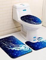 Недорогие -3 предмета Modern Коврики для ванны 100 г / м2 полиэфирный стреч-трикотаж Животное Прямоугольная Ванная комната Творчество