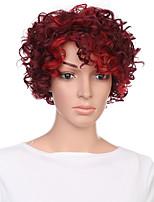 abordables -Perruque Synthétique Bouclé / Afro Kinky Partie libre Cheveux Synthétiques 12 pouce Soirée / Synthétique / Dégradé de Couleur Bourgogne Perruque Femme Court Sans bonnet Rouge