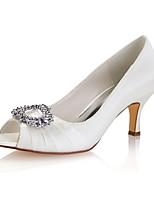 Недорогие -Жен. Балетки Сатин Лето Свадебная обувь На шпильке Открытый мыс Со стразами / Свадьба / Для вечеринки / ужина