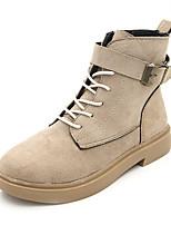 Недорогие -Жен. Армейские ботинки Полиуретан Осень Английский Ботинки На низком каблуке Сапоги до середины икры Черный / Бежевый