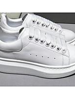 Недорогие -Жен. Комфортная обувь Наппа Leather Весна Кеды На плоской подошве Закрытый мыс Белый
