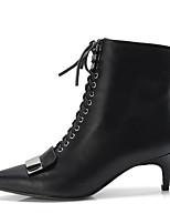 baratos -Mulheres Sapatos Confortáveis Pele de Carneiro Outono & inverno Botas Sem Salto Preto / Marron