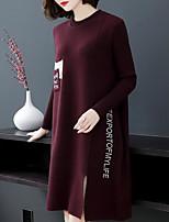 Недорогие -Жен. Классический Трикотаж Платье - Буквы До колена