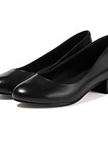 Недорогие -Жен. Балетки Наппа Leather Весна Обувь на каблуках На толстом каблуке Черный