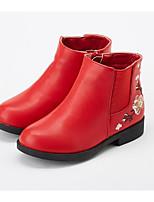Недорогие -Девочки Обувь Полиуретан Зима Модная обувь Ботинки Цветы из сатина / Молнии для Дети Черный / Коричневый / Красный