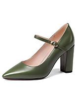 Недорогие -Жен. Комфортная обувь Наппа Leather Осень Обувь на каблуках На толстом каблуке Черный / Зеленый