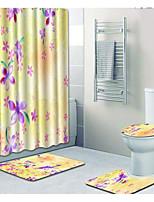 Недорогие -1 комплект На каждый день Коврики для ванны 100 г / м2 полиэфирный стреч-трикотаж Цветочный принт Прямоугольная Ванная комната Очаровательный