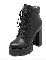 Недорогие -Жен. Fashion Boots Полиуретан Осень Ботинки На толстом каблуке Закрытый мыс Ботинки Черный / Серый / Желтый