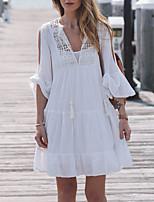 abordables -Femme Basique Encolure plongeante Blanc Shorts de Surf Vêtement couvrant Maillots de Bain - Couleur Pleine Taille unique / Sexy