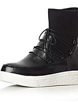 Недорогие -Жен. Fashion Boots Полиуретан Зима Ботинки На плоской подошве Закрытый мыс Ботинки Черный / Серый