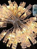 Недорогие -1m Гирлянды 40 светодиоды Тёплый белый Декоративная Аккумуляторы AA 1 комплект