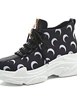 Недорогие -Жен. Комфортная обувь Наппа Leather Лето Кеды Туфли на танкетке Закрытый мыс Белый / Черный