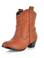 Недорогие -Жен. Fashion Boots Полиуретан Наступила зима Ботинки На толстом каблуке Сапоги до середины икры Черный / Желтый / Коричневый