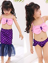 abordables -La Petite Sirène Fille Enfant Robe sirène et robe évasée Bikini Halloween Le Jour des enfants Fête / Célébration Tenue Violet Paillette