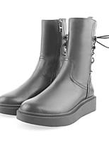Недорогие -Жен. Комфортная обувь Наппа Leather Лето Ботинки На плоской подошве Черный