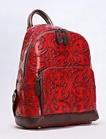 Недорогие -Жен. Мешки Кожа рюкзак Молнии Черный / Светло-серый / Красный