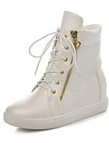 Недорогие -Жен. Fashion Boots Синтетика Зима Ботинки На плоской подошве Закрытый мыс Ботинки Черный / Бежевый
