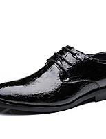 Недорогие -Муж. Комфортная обувь Под крокодила Осень На каждый день Туфли на шнуровке Нескользкий Черный