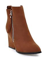 Недорогие -Жен. Fashion Boots Замша Осень Ботинки На толстом каблуке Закрытый мыс Ботинки Серый / Зеленый / Темно-русый