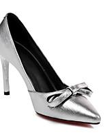 Недорогие -Жен. Комфортная обувь Наппа Leather Весна Обувь на каблуках На шпильке Черный / Серебряный / Красный