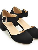 Недорогие -Жен. Комфортная обувь Полиуретан Весна Обувь на каблуках На толстом каблуке Черный / Серый / Красный
