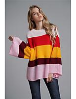 Недорогие -Жен. Классический Вспышка рукава Пуловер - Контрастных цветов, Пэчворк
