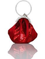 Недорогие -Жен. Мешки Шелк Вечерняя сумочка Кристаллы Сплошной цвет Синий / Винный