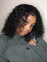baratos -Cabelo Remy Frente de Malha Peruca Cabelo Brasileiro Liso / Curva solta Peruca Corte Bob 150% com o cabelo do bebê / Riscas Naturais / Peruca Afro Americanas Mulheres Curto Perucas de Cabelo Natural
