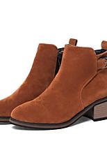 billiga -Dam Fashion Boots Mocka Vinter Stövlar Bastant klack Stängd tå Korta stövlar / ankelstövlar Svart / Grå / Gul