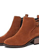 baratos -Mulheres Fashion Boots Camurça Inverno Botas Salto Robusto Dedo Fechado Botas Curtas / Ankle Preto / Cinzento / Amarelo