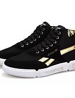 abordables -Homme Chaussures de confort Toile de jean Automne Décontracté Basket Respirable Noir et Or / Noir / blanc
