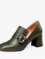 Недорогие -Жен. Комфортная обувь Наппа Leather Осень Обувь на каблуках На толстом каблуке Черный / Военно-зеленный