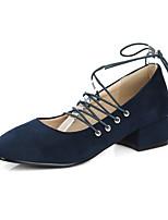 Недорогие -Жен. Балетки Полиуретан Весна Обувь на каблуках На толстом каблуке Бежевый / Красный / Синий
