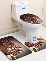 Недорогие -3 предмета Modern Коврики для ванны 100 г / м2 полиэфирный стреч-трикотаж Креатив Прямоугольная Ванная комната Очаровательный / Противоскользящий / Легко очистить