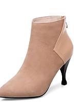 Недорогие -Жен. Fashion Boots Овчина Зима Ботинки На шпильке Закрытый мыс Ботинки Черный / Телесный