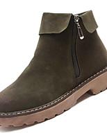 Недорогие -Жен. Fashion Boots Полиуретан Осень На каждый день Ботинки На низком каблуке Сапоги до середины икры Черный / Военно-зеленный / Хаки