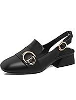 baratos -Mulheres Sapatos Confortáveis Pele Napa Primavera Verão Saltos Salto Robusto Branco / Preto